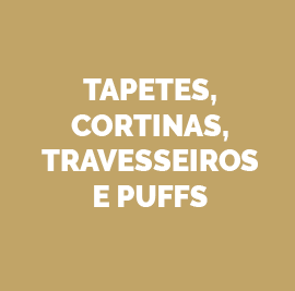 Tapetes, cortinas, travesseiros e puffs